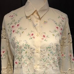 """Crochet & Embroidered """"Together"""" Blouse"""